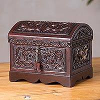 Cedar and leather decorative chest, 'Garden Secret' - Handcrafted Cedar Wood and Leather Decorative Chest