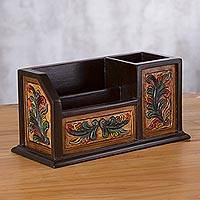 Cedar wood and leather organizer, 'Flowers of My Land' - Handmade Cedar Wood and Tooled Leather Organizer from Peru