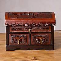 Cedar and leather jewelry chest, 'Nazca Secret' - Handcrafted Cedar Wood and Leather Jewelry Chest
