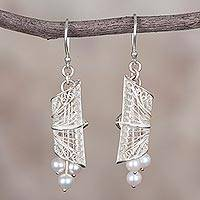Cultured pearl filigree dangle earrings, 'Glowing Bundles' - Cultured Pearl Filigree Dangle Earrings from Peru