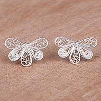 Sterling silver filigree button earrings, 'Spiral Breeze' - Sterling Silver Filigree Button Earrings from Peru