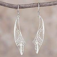 Sterling silver filigree dangle earrings, 'Free Horizons' - Sterling Silver Spiral Filigree Dangle Earrings from Peru