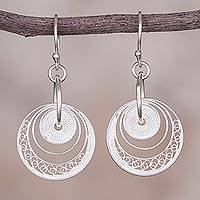 Sterling silver filigree dangle earrings, 'Parallel Worlds' - Sterling Silver Circular Filigree Dangle Earrings from Peru