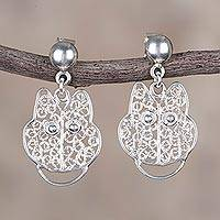 Sterling silver filigree dangle earrings, 'Sparkling Kittens' - Sterling Silver Cat Filigree Dangle Earrings from Peru