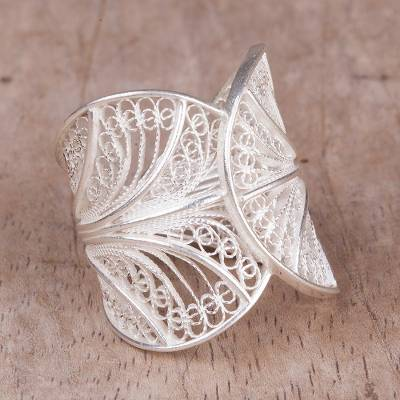 Sterling silver filigree band ring, Windy Currents