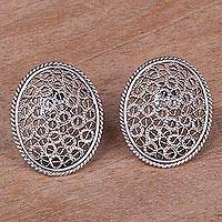 Sterling silver filigree button earrings, 'Stylish Tradition' - Sterling Silver Filigree Button Earrings from Peru
