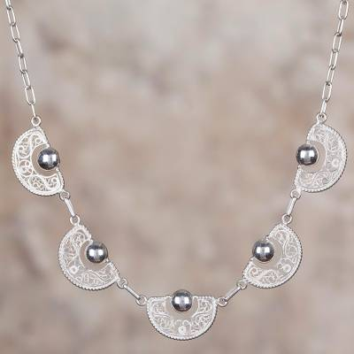 Sterling silver filigree pendant necklace, Sparkling Half-Moons