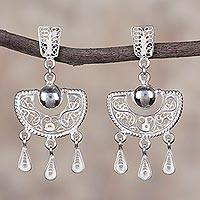 Sterling silver filigree chandelier earrings, 'Sparkling Half-Moons'