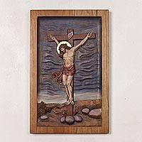 Cedar wood relief panel, 'Christian Redemption' - Handcrafted Cedar Wood Christian Relief Panel from Peru