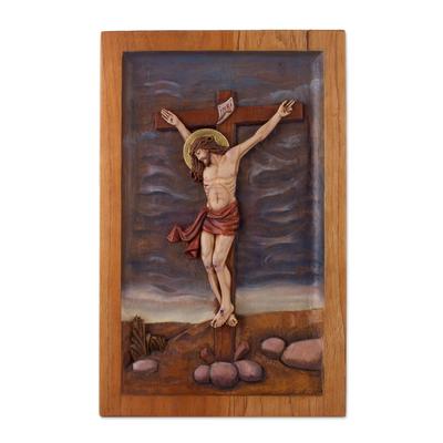Cedar wood relief panel, 'Christian Redemption' - Handcrafted Cedar Wood Christian Relief Panel from Peru