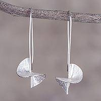 Sterling silver drop earrings, 'Mesmerizing Spirals' - 925 Sterling Silver Spiral-Shaped Drop Earrings from Peru