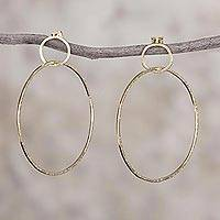 Gold plated sterling silver dangle earrings, 'Perfect Imperfection' - Gold Plated Sterling Silver Dangle Earrings from Peru