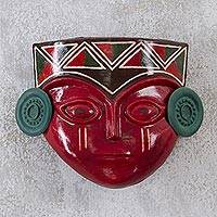 Papier mache mask, 'Inca Boy' - Handcrafted Papier Mache Inca Wall Mask from Peru