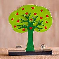 Wood sculpture, 'Loving Tree' - Handcrafted Wood Tree Sculpture from Peru