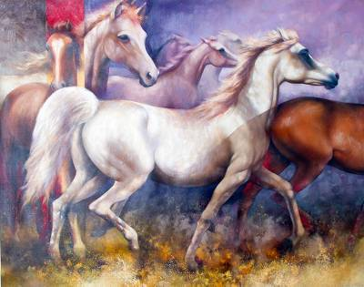 2016 Signed Surrealist Painting of Horses from Peru