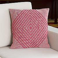 Wool blend cushion cover, 'Rose Diamond' - Wool Blend Diamond Motif Cushion Cover in Rose and Ivory