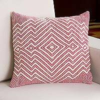 Wool blend cushion cover, 'Pastel Geometry in Rose' - Wool Blend Cushion Cover in Rose and Ivory from Peru