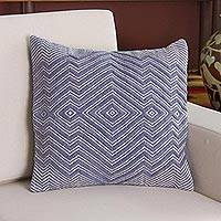 Wool blend cushion cover, 'Pastel Geometry in Cadet Blue' - Wool Blend Cushion Cover in Cadet Blue and Ivory from Peru