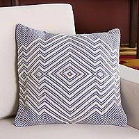Wool blend cushion cover, 'Pastel Geometry in Ivory' - Wool Blend Cushion Cover in Cadet Blue and Ivory from Peru