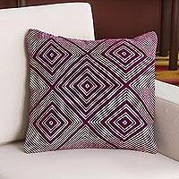 Wool blend cushion cover, 'Mulberry Diamonds' - Wool Blend Cushion Cover in Mulberry and Ivory from Peru
