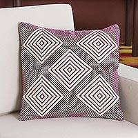 Wool blend cushion cover, 'Geometric Majesty in Mulberry' - Wool Blend Cushion Cover in Mulberry and Ivory from Peru