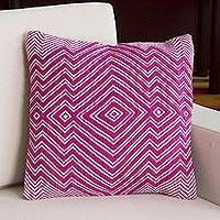 Alpaca blend cushion cover, 'Pastel Geometry in Azalea' - Alpaca Blend Cushion Cover in Azalea and Ivory from Peru
