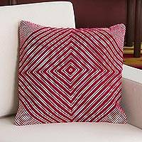 Alpaca blend cushion cover, 'Crimson Trance' - Alpaca Blend Cushion Cover in Crimson and Ivory from Peru