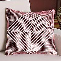 Alpaca blend cushion cover, 'Crimson Diamond' - Alpaca Blend Cushion Cover in Crimson and Ivory from Peru