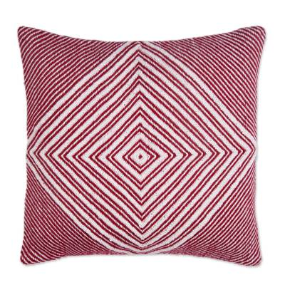 Alpaca Blend Cushion Cover in Crimson and Ivory from Peru