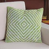 Alpaca blend cushion cover, 'Lime Diamond' - Alpaca Blend Cushion Cover in Lime and Ivory from Peru
