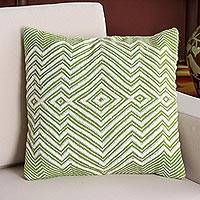 Alpaca blend cushion cover, 'Pastel Geometry in Lime' - Alpaca Blend Cushion Cover in Lime and Ivory from Peru