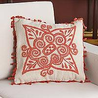 Wool cushion cover, 'Flamingo Flower' - 100% Wool Floral Cushion Cover in Flamingo from Peru