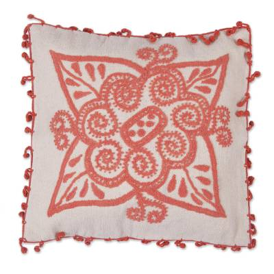 100% Wool Floral Cushion Cover in Flamingo from Peru