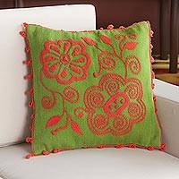 Alpaca blend cushion cover, 'Peach Bouquet' - Alpaca Blend Floral Cushion Cover in Peach from Peru