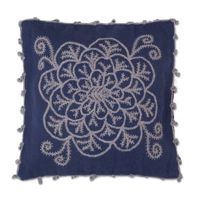 Alpaca Blend Floral Cushion Cover in Azure and Smoke