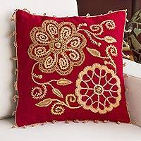 Wool blend cushion cover, 'Eden Flowers' - Wool Blend Floral Cushion Cover in Crimson and Peach