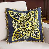 Wool blend cushion cover, 'Verdant Mystery' - Wool Blend Floral Cushion Cover in Azure and Daffodil
