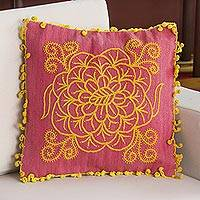 Wool blend cushion cover, 'Daffodil Rose' - Wool Blend Floral Cushion Cover in Daffodil and Rose