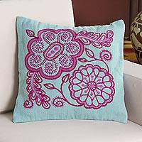 Wool cushion cover, 'Flower Charm' - 100% Wool Floral Cushion Cover in Fuchsia and Aqua from Peru