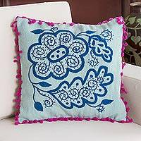 Wool cushion cover, 'Teal Flower' - 100% Wool Cushion Cover in Teal and Aqua from Peru