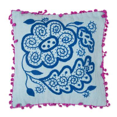 100% Wool Cushion Cover in Teal and Aqua from Peru
