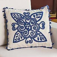 Wool cushion cover, 'Denim Flower' - 100% Wool Cushion Cover in Denim and Alabaster from Peru