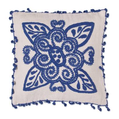 100% Wool Cushion Cover in Denim and Alabaster from Peru