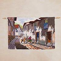 Wool tapestry, 'Imperial Cusco' - 100% Wool Signed Woven Tapestry from Peru