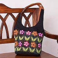 Leather and wool accent jute shoulder bag, 'Flowered Love' - Wool Embroidered Leather Accent Shoulder Bag from Peru
