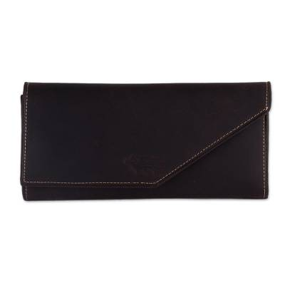 Handcrafted Leather Wallet in Solid Chocolate from Peru