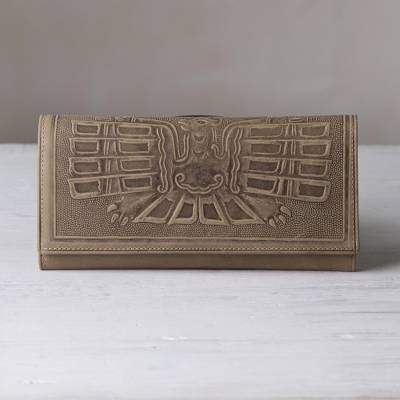 Leather wallet, 'Avian Muse' - Leather Wallet with an Embossed Bird Design from Peru