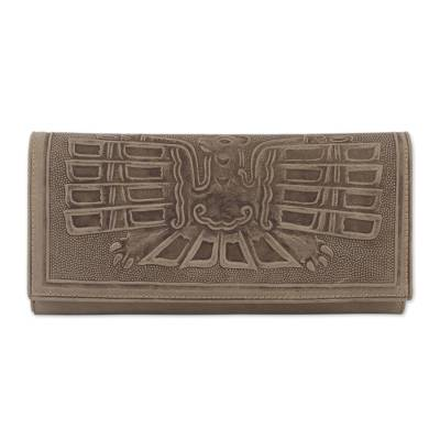 Leather Wallet with an Embossed Bird Design from Peru