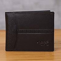 Leather wallet, 'Ancient Bird in Black' - Handcrafted Leather Wallet in Black from Peru