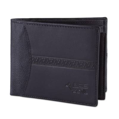 Handcrafted Leather Wallet in Black from Peru